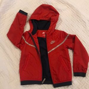 Nike red lightweight coat for cool 6 year old boys